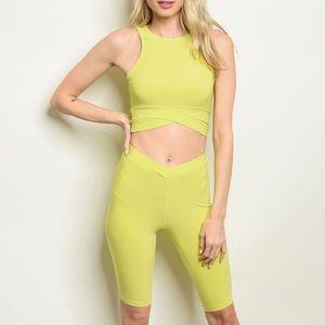 Neon lime green crop top & biker shorts set